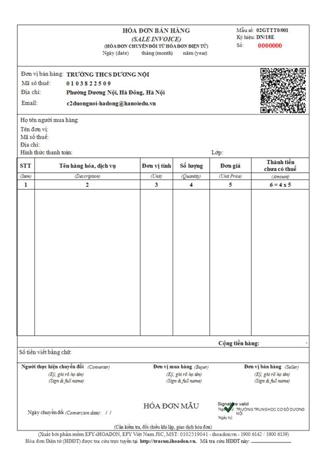 Mẫu hóa đơn điện tử trường học