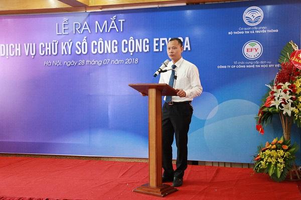 Ông Hoàng Văn Thuấn phát biểu khai mạc tại Lễ ra mắt dịch vụ CKS EFY-CA